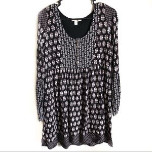 [Miami] Long Sleeve Black and White Pattern Dress